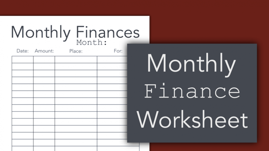 Monthly Finance Worksheet